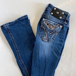 Miss Me Signature Boot Jeans. Bling Pockets and Distressing